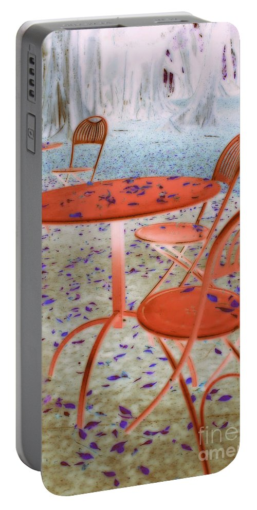 Red. Furniture Portable Battery Charger featuring the digital art Outside Cafe by Irina Davis