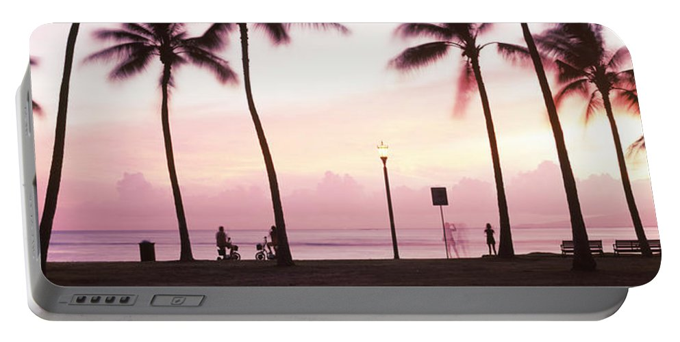 Photography Portable Battery Charger featuring the photograph Palm Trees On The Beach, Waikiki by Panoramic Images