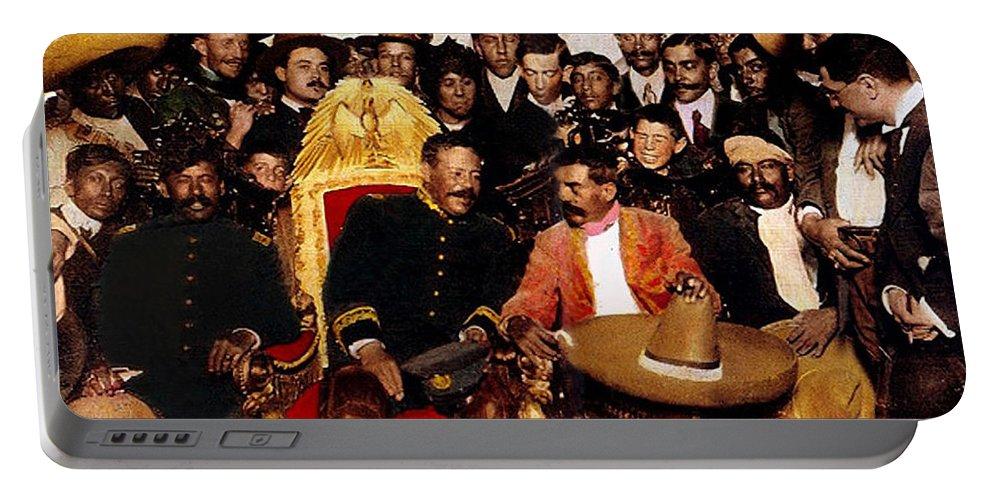 Pancho Villa In Presidential Chair And Emiliano Zapata Palacio Nacional Mexico City December 6 1914 Portable Battery Charger featuring the photograph Pancho Villa In Presidential Chair And Emiliano Zapata Palacio Nacional Mexico City December 6 1914 by David Lee Guss