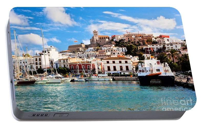Ibiza Portable Battery Charger featuring the photograph Panorama Of Ibiza Spain by Michal Bednarek