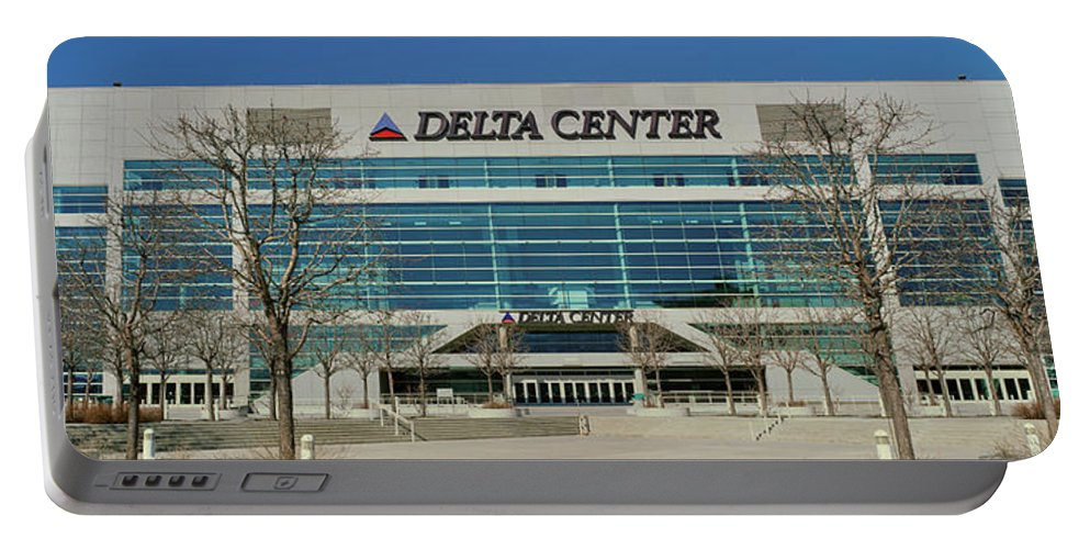 Photography Portable Battery Charger featuring the photograph Panoramic Of Delta Center Building by Panoramic Images