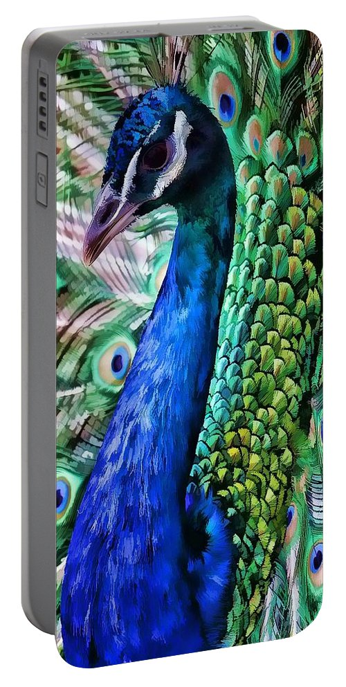 Peacock Portable Battery Charger featuring the photograph Peacock by Joyce Baldassarre