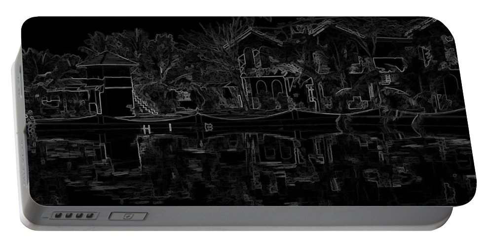 Alleppey Portable Battery Charger featuring the digital art Pencil - View Of The Cottages And Lagoon Water by Ashish Agarwal