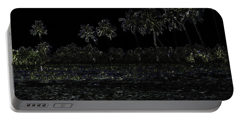 Alleppey Portable Battery Charger featuring the digital art Pencil - Water Rippling In The Coastal Lagoon by Ashish Agarwal