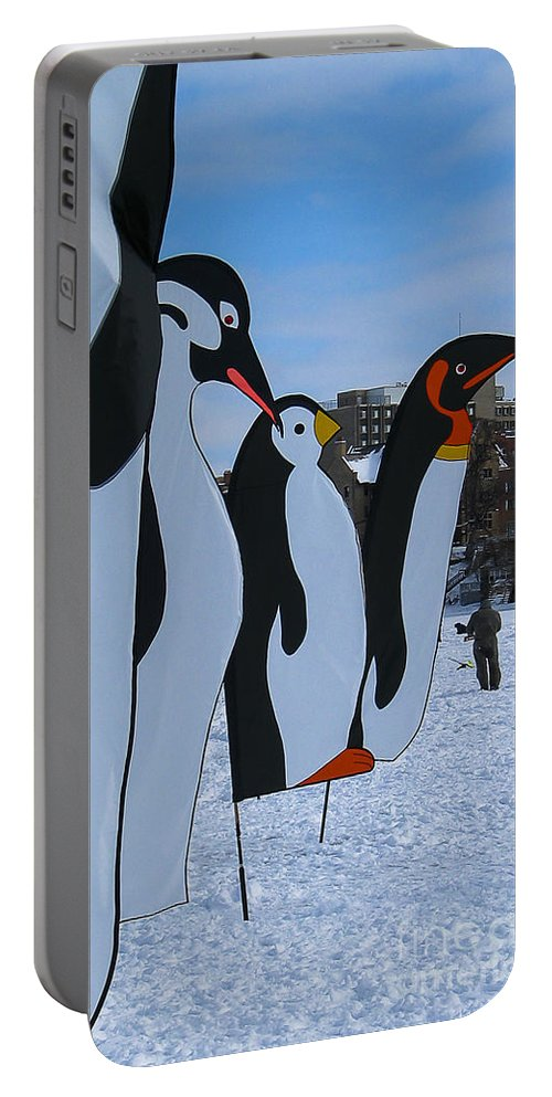 Snow Portable Battery Charger featuring the photograph Penguins by Steven Ralser