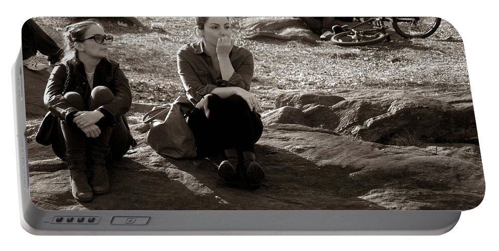 Central Park Portable Battery Charger featuring the photograph Pensive - In Central Park by Miriam Danar