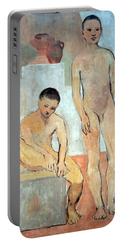 Two Youths Portable Battery Charger featuring the photograph Picasso's Two Youths by Cora Wandel