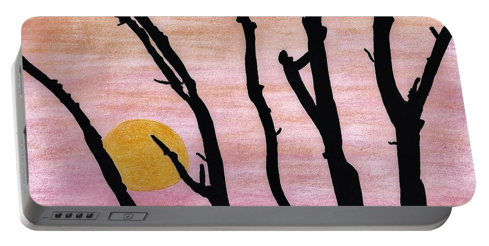 Sunrise Portable Battery Charger featuring the drawing Pink - Sunrise Drawing by D Hackett