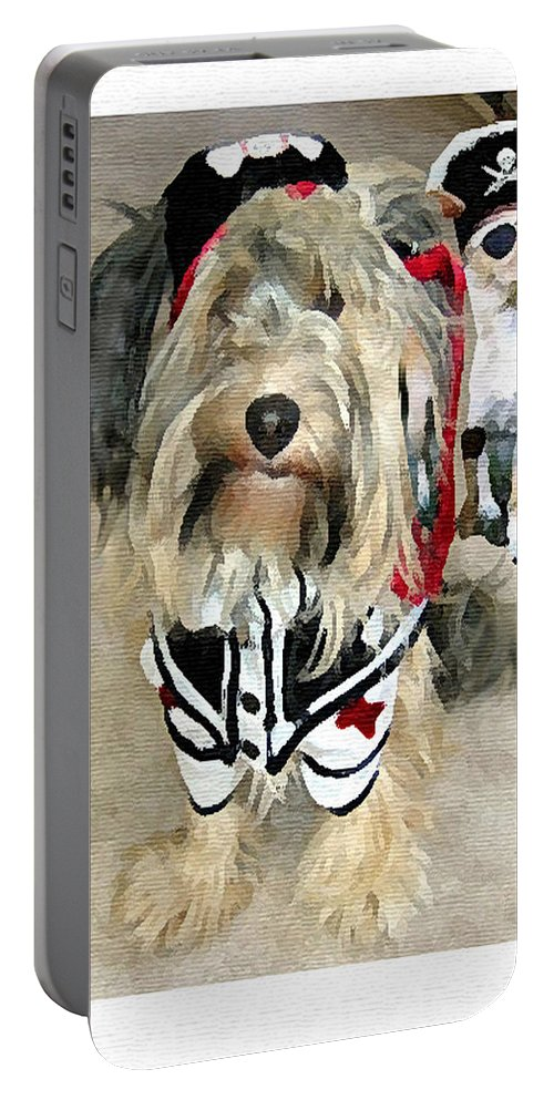 Pirates Portable Battery Charger featuring the digital art Pirate Dogs by Jane Schnetlage