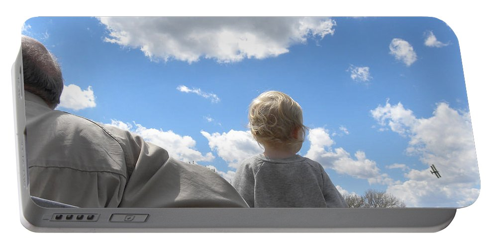 Plane Portable Battery Charger featuring the photograph Plane Viewing From The Truck Bed by Sheri Lauren