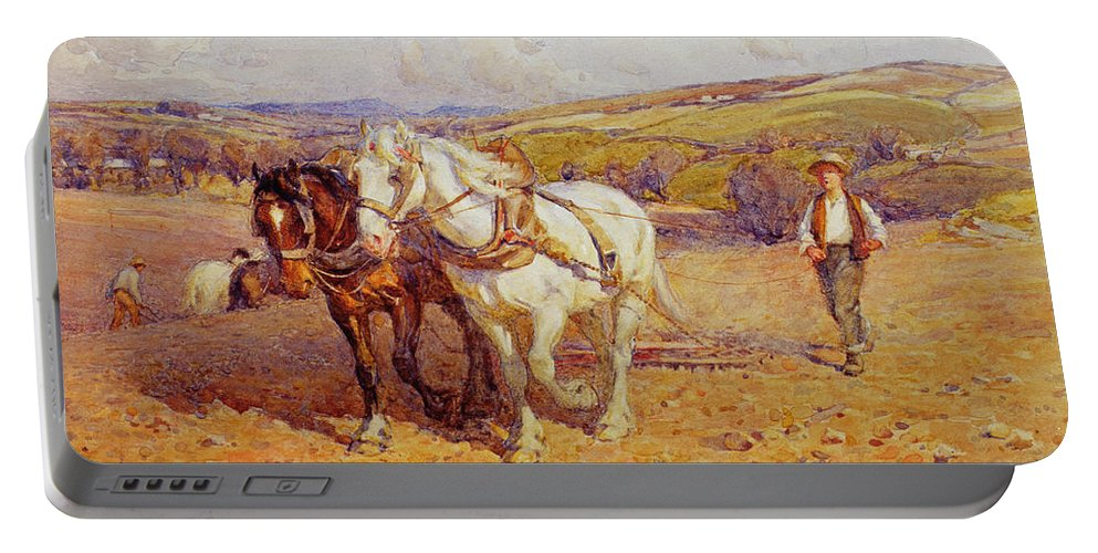 Plough Portable Battery Charger featuring the painting Ploughing by Joseph Harold Swanwick