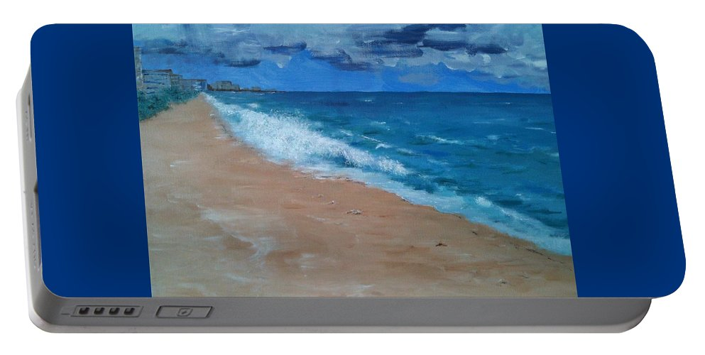 Landscape Portable Battery Charger featuring the painting Pompano Beach by Laura Inniger