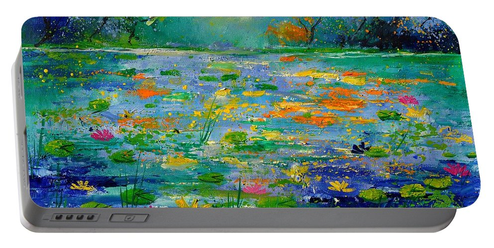 Landscape Portable Battery Charger featuring the painting Pond 454190 by Pol Ledent