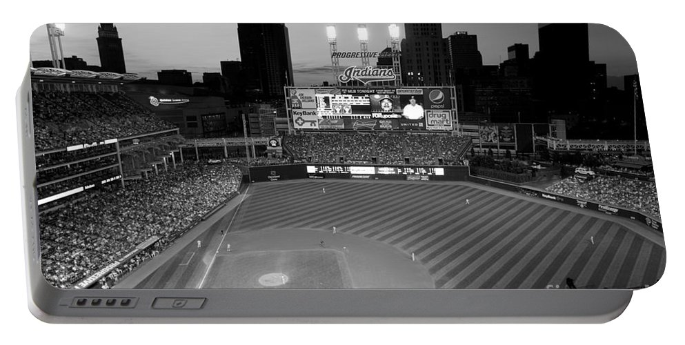 Cleveland Portable Battery Charger featuring the photograph Progressive Field At Dusk by Bill Cobb