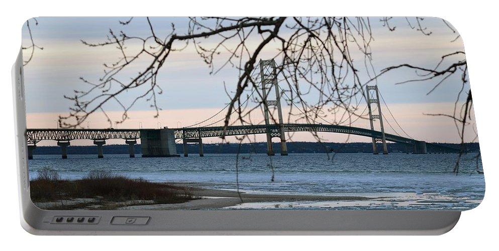 Mackinaw Bridge Portable Battery Charger featuring the photograph Pure Beauty by Linda Kerkau