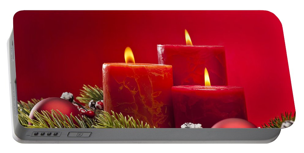 Red Portable Battery Charger featuring the photograph Red Advent Wreath With Candles by U Schade