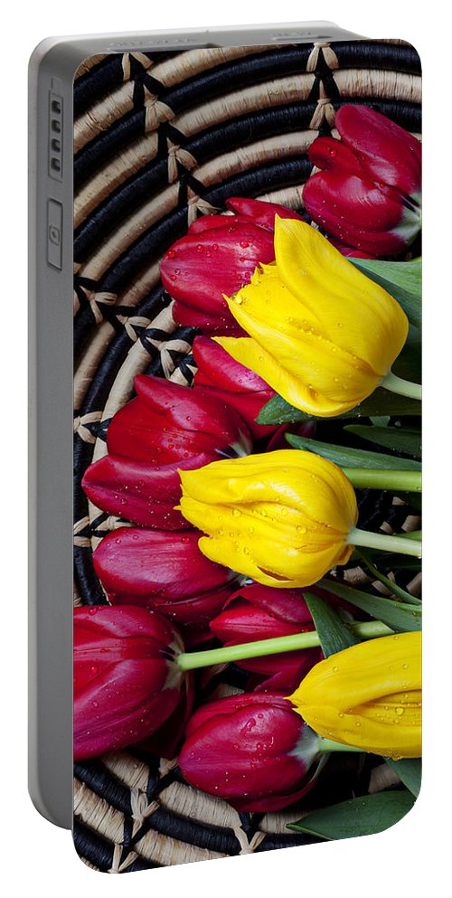 Red Portable Battery Charger featuring the photograph Red And Yellow Tulips by Garry Gay