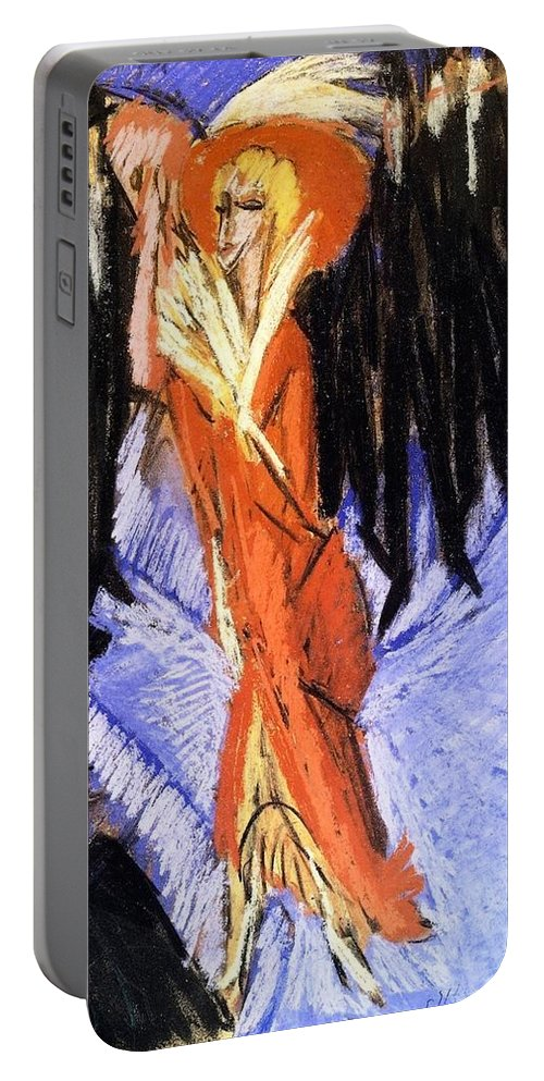 1914 Portable Battery Charger featuring the painting Red Cocotte by Ernst Ludwig Kirchner