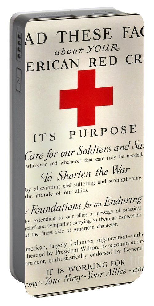 1917 Portable Battery Charger featuring the photograph Red Cross Poster, 1917 by Granger