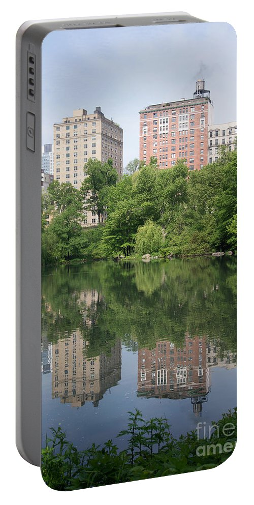 Central Park Portable Battery Charger featuring the digital art Reflections In The Pool by Carol Ailles