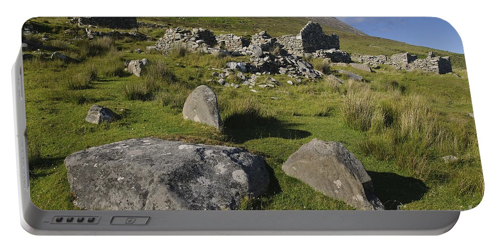 Achill Portable Battery Charger featuring the photograph Remains Of Slievemore Village by John Shaw