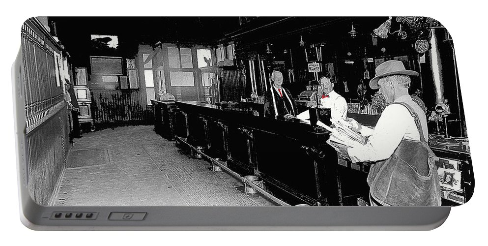 Reverse Angle Interior Cabinet Saloon 68 W. Congress Tucson Arizona 1910 Black And White Color Added Portable Battery Charger featuring the photograph Reverse Angle Interior Cabinet Saloon 68 W. Congress Tucson Arizona 1910 by David Lee Guss
