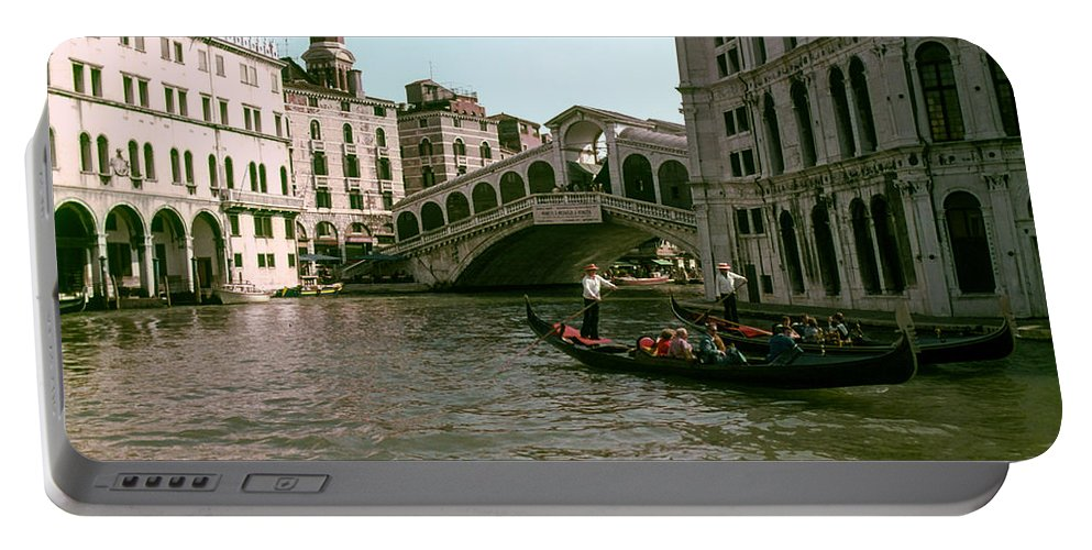 Rialto Bridge Venice Bridges Canal Canals Boat Boats Structure Structures Building Buildings Dock Docks Water City Cities Cityscape Cityscapes People Person Persons Italy Waterscape Waterscapes Portable Battery Charger featuring the photograph Rialto Bridge In The Grand Canal by Bob Phillips