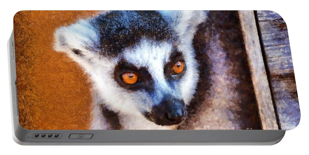 Ring Tailed Lemur Portable Battery Charger featuring the painting Ring Tailed Lemur by George Atsametakis