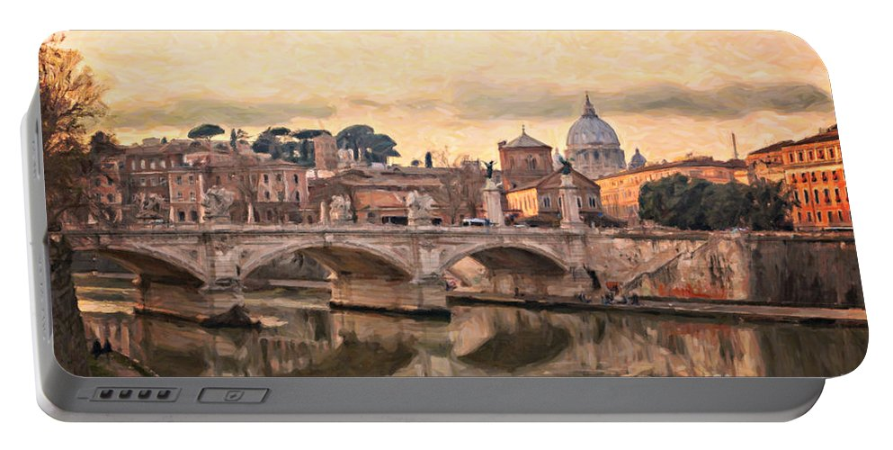 Rome Portable Battery Charger featuring the digital art River Tiber In Rome by Sophie McAulay