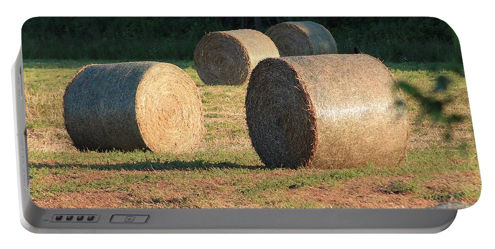 Mccombie Portable Battery Charger featuring the painting Round Hay Bales by J McCombie