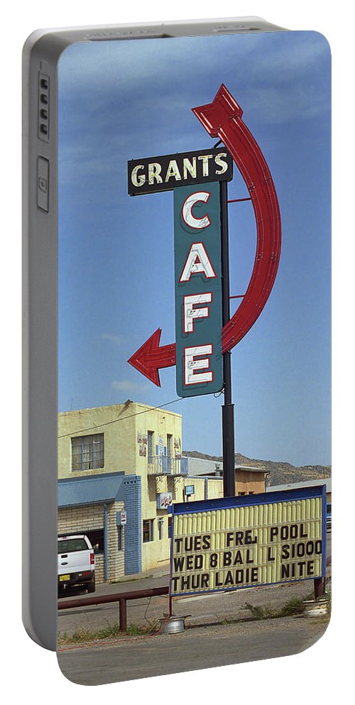 66 Portable Battery Charger featuring the photograph Route 66 - Grants Cafe by Frank Romeo