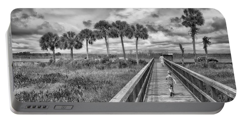 Hdr Portable Battery Charger featuring the photograph Running by Howard Salmon