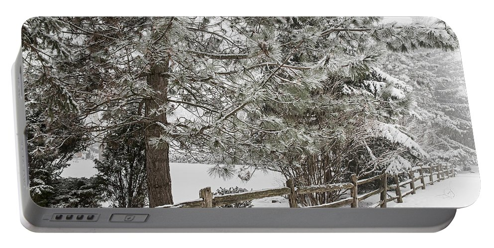 Winter Portable Battery Charger featuring the photograph Rural Winter Scene With Fence by Elena Elisseeva