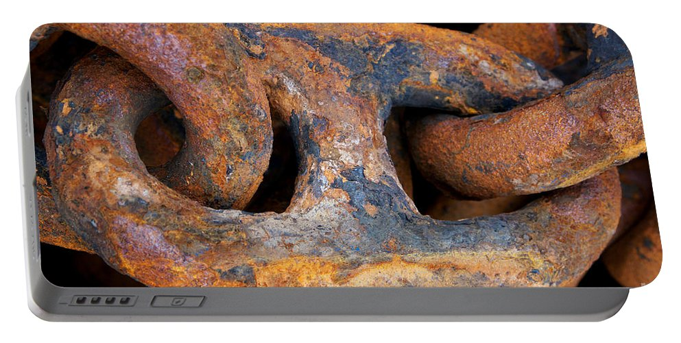 Anchor Portable Battery Charger featuring the photograph Rusty Steel Chain Detail by Jannis Werner