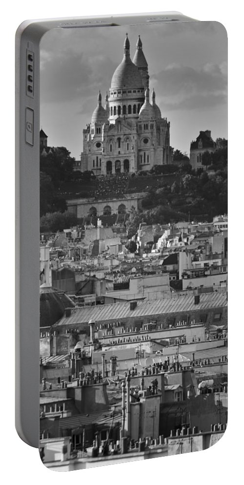 Sacre Coeur Portable Battery Charger featuring the photograph Sacre Coeur Over Rooftops by Gary Eason
