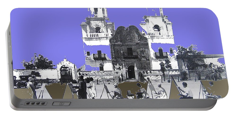 San Xavier Mission Edith Kitt Art Students C. 1930 Tucson Arizona Portable Battery Charger featuring the photograph San Xavier Mission Sketched By Art Students C. 1930 Tucson Arizona by David Lee Guss