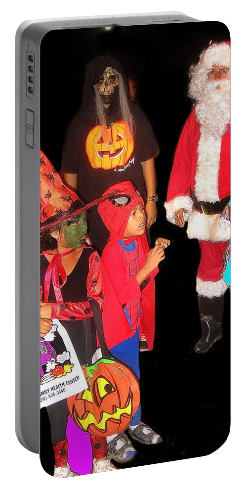Santa Trick Or Treaters Halloween Party Casa Grande Arizona 2005 Portable Battery Charger featuring the photograph Santa Trick Or Treaters Halloween Party Casa Grande Arizona 2005 by David Lee Guss