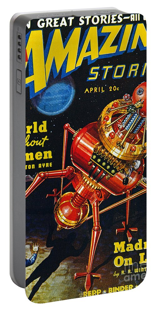 1939 Portable Battery Charger featuring the painting Science Fiction Cover 1939 by Granger