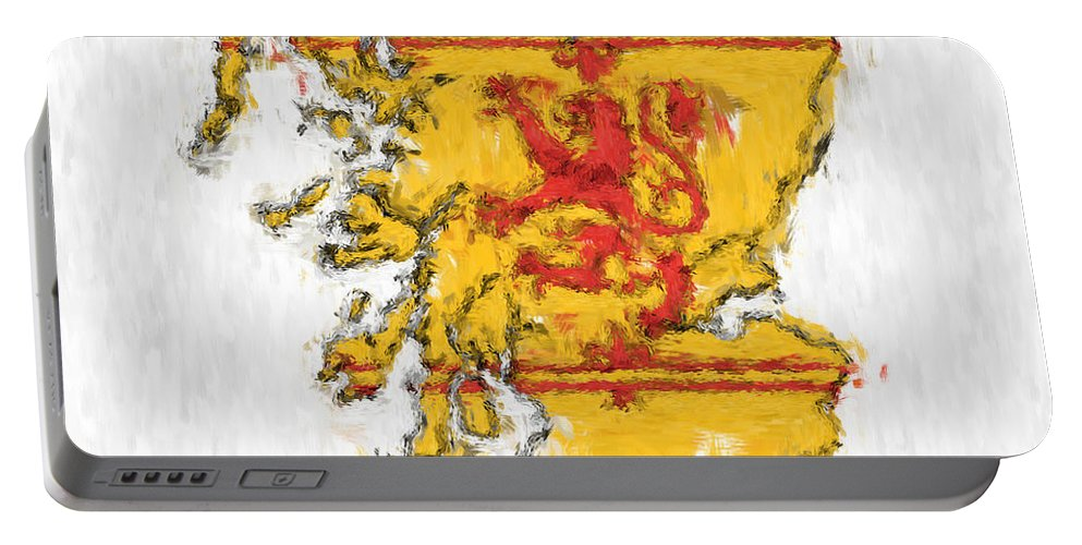 Scotland Portable Battery Charger featuring the photograph Scotland Painted Flag Map by Antony McAulay
