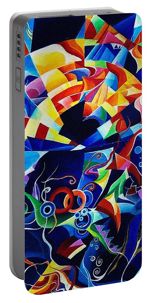 Alexander Scriabin Piano Sonata No.10 Acrylic Abstract Music Portable Battery Charger featuring the painting Scriabin by Wolfgang Schweizer