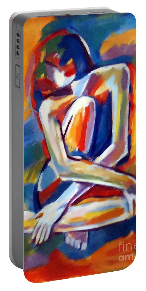 Art Portable Battery Charger featuring the painting Seated Figure by Helena Wierzbicki