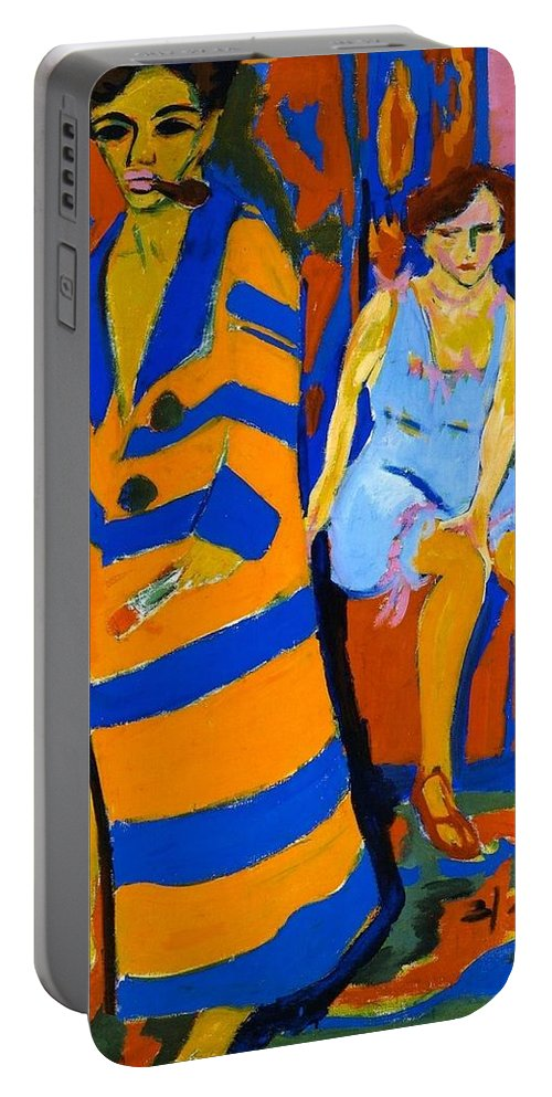 1926 Portable Battery Charger featuring the painting Self-portrait With Model by Ernst Ludwig Kirchner