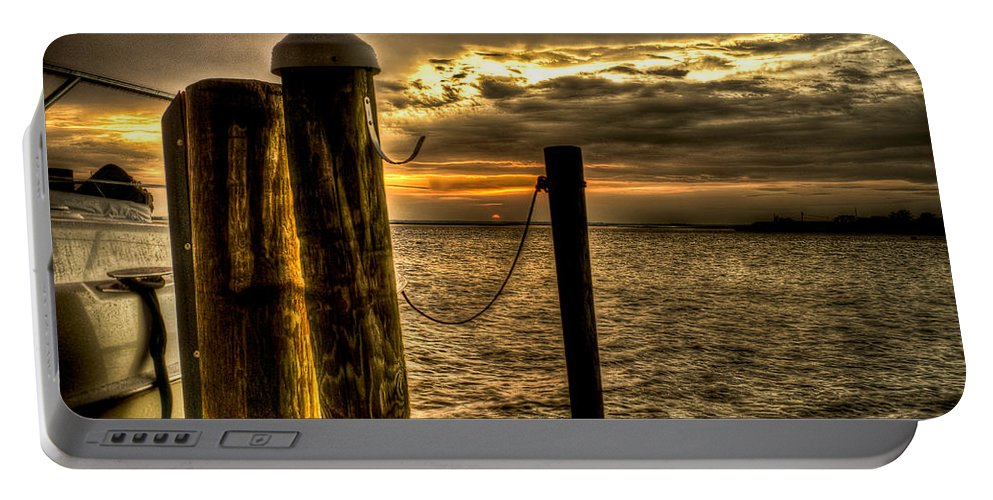Beach Portable Battery Charger featuring the photograph Setting Sun by Ryan Crane