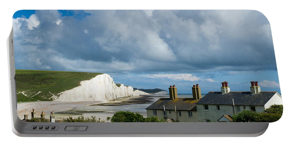 Seven Sisters Portable Battery Charger featuring the photograph Seven Sisters Cliffs And Coastguard Cottages by Gary Eason