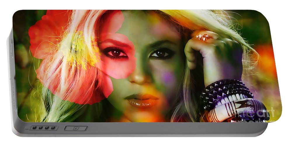 Shakira Portable Battery Charger featuring the mixed media Shakira by Marvin Blaine
