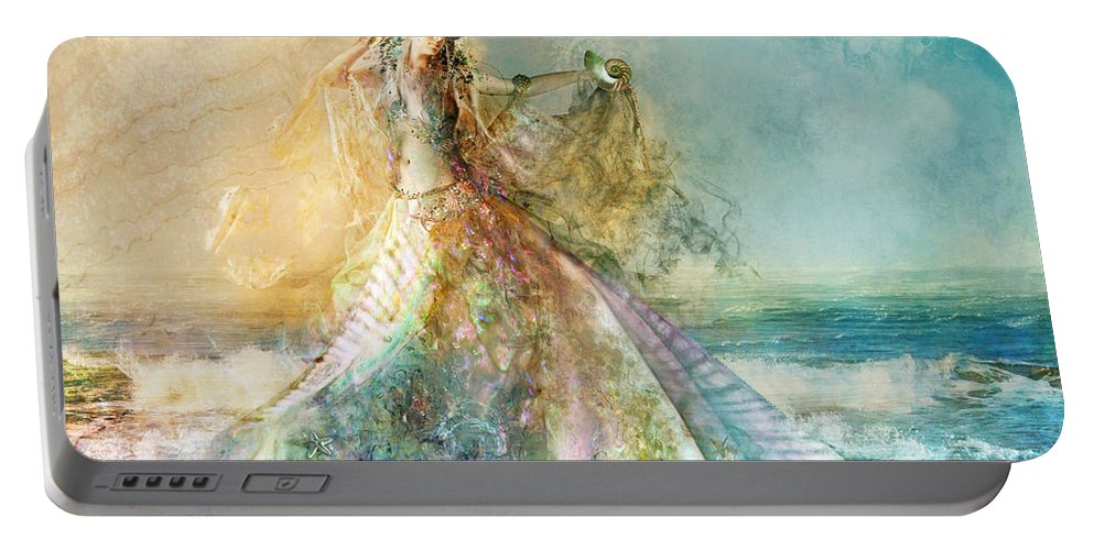 Sea Portable Battery Charger featuring the digital art Shell Maiden by MGL Meiklejohn Graphics Licensing