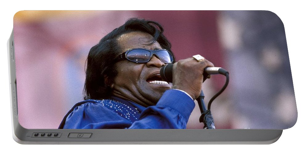 The Godfather Of Soul Portable Battery Charger featuring the photograph Singer James Brown by Concert Photos