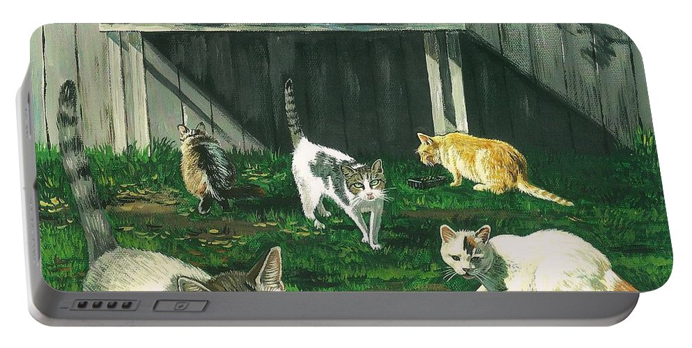 Print Portable Battery Charger featuring the painting Six Cats by Margaryta Yermolayeva
