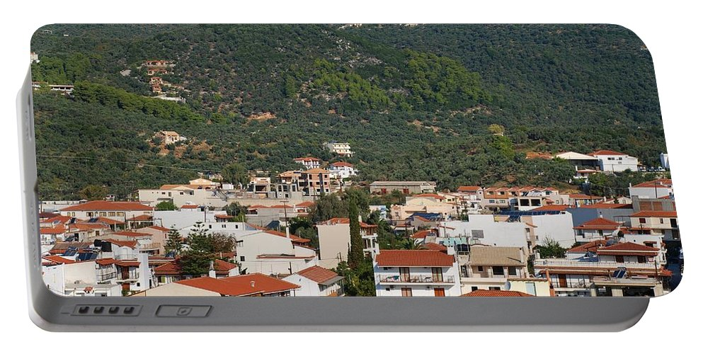 Skiathos Portable Battery Charger featuring the photograph Skiathos Island Greece by David Fowler
