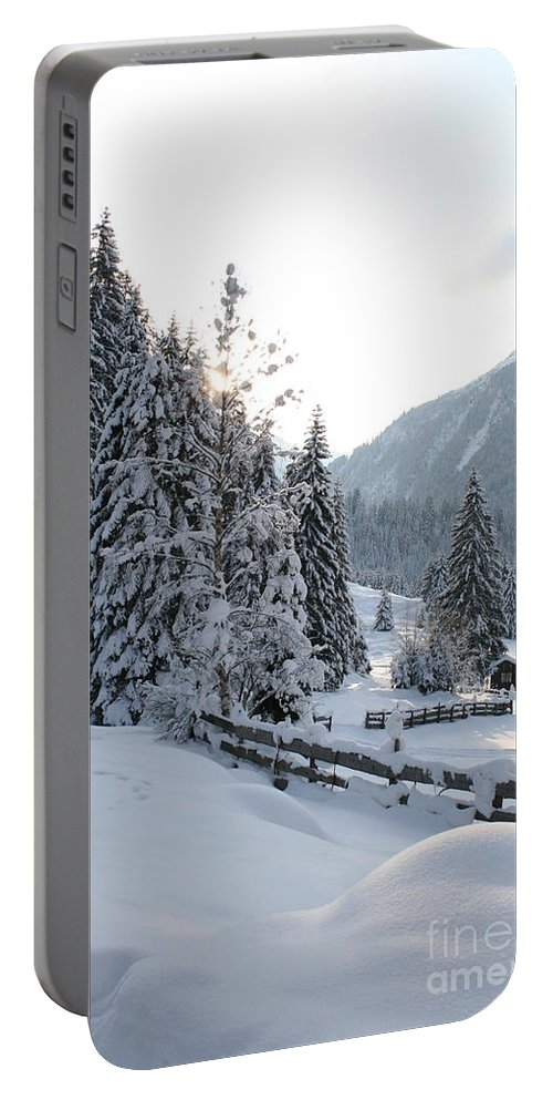 Snow Portable Battery Charger featuring the photograph Snowy Trees by Christiane Schulze Art And Photography